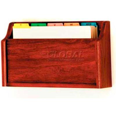 Wooden Mallet Single Square Bottom Legal Size File Holder, Mahogany