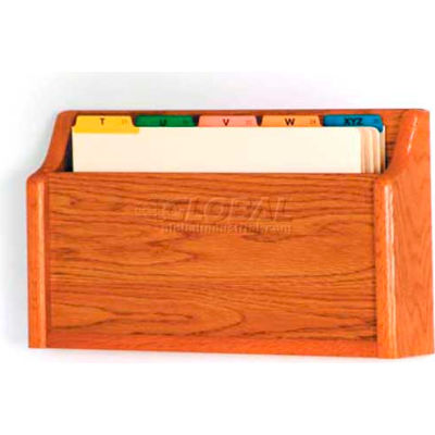 Wooden Mallet Single Square Bottom Legal Size File Holder, Medium Oak