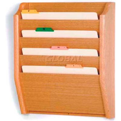 Wooden Mallet 4 Pocket Legal Size File Holder, Light Oak
