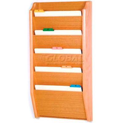 Wooden Mallet 5 Pocket Legal Size File Holder, Light Oak