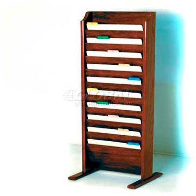 Wooden Mallet Free-Standing 10 Pocket Legal Size File Holder, Mahogany