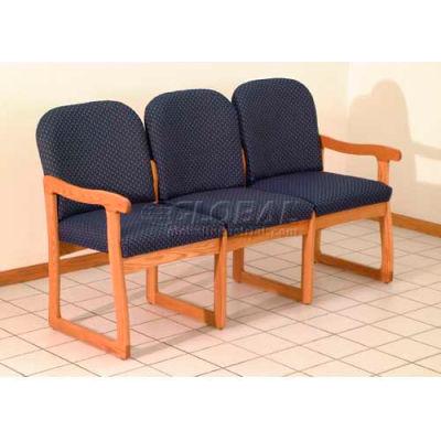 Wooden Mallet Prairie Three Seat Sofa with Sled Base, Solid Vinyl, Black/Mahogany