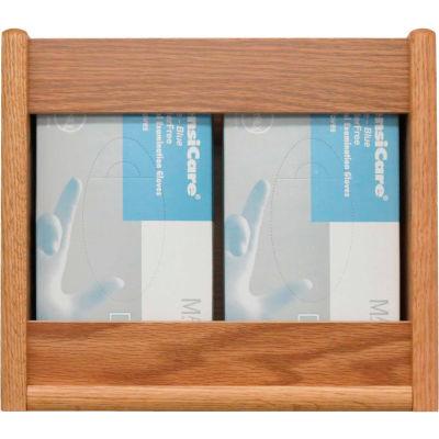 Wooden Mallet 2 Pocket Glove/Tissue Box Holder - Rectangle, Light Oak