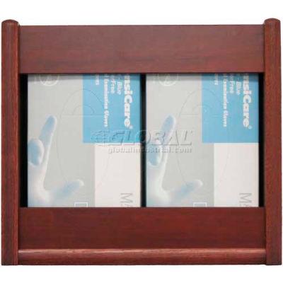 Wooden Mallet 2 Pocket Glove/Tissue Box Holder - Rectangle, Mahogany