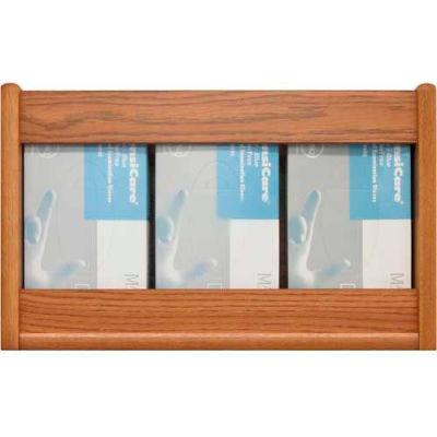 Wooden Mallet 3 Pocket Glove/Tissue Box Holder - Rectangle, Medium Oak