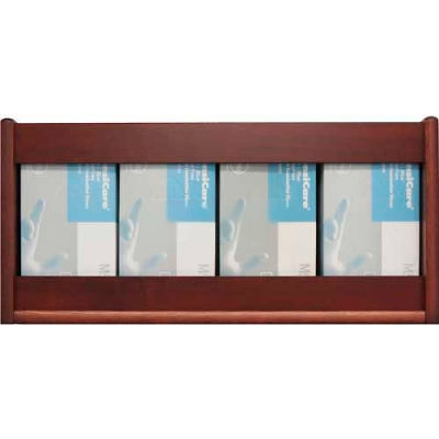 Wooden Mallet 4 Pocket Glove/Tissue Box Holder - Rectangle, Mahogany