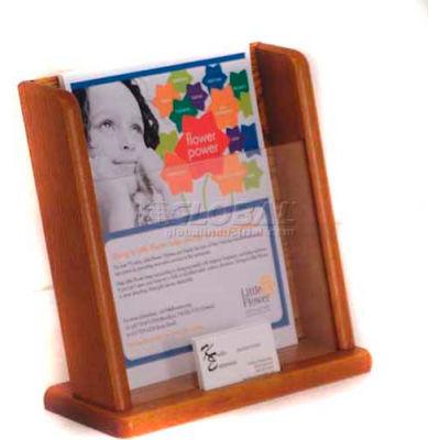 Wooden Mallet Countertop Literature Display with Business Card Pocket, Medium Oak