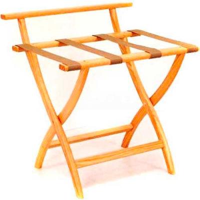 Wooden Mallet WallSaver™ Luggage Rack with Tan Webbing, Light Oak