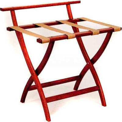 Wooden Mallet WallSaver™ Luggage Rack with Tan Webbing, Mahogany