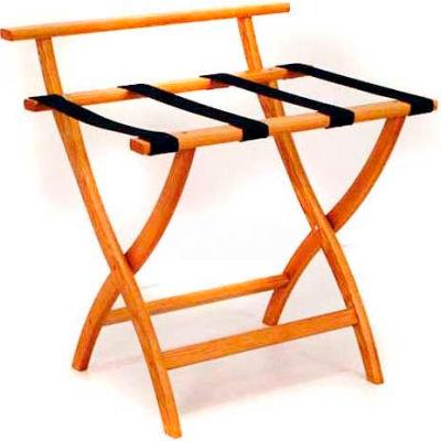 Wooden Mallet WallSaver™ Luggage Rack with Black Webbing, Medium Oak