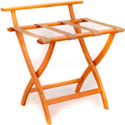 Wooden Mallet WallSaver™ Luggage Rack with Tan Webbing, Medium Oak