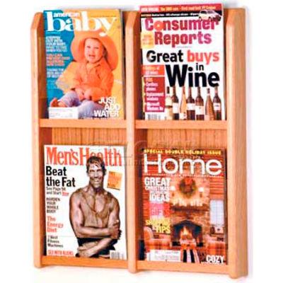 Wooden Mallet Divulge™ 4 Magazine Wall Display, Light Oak