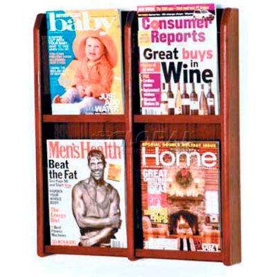 Wooden Mallet Divulge™ 4 Magazine Wall Display, Mahogany