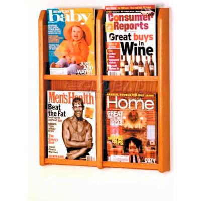 Wooden Mallet Divulge™ 4 Magazine Wall Display, Medium Oak