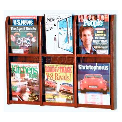 Wooden Mallet Divulge™ 6 Magazine Wall Display, Mahogany