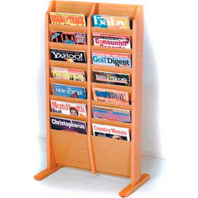 Wooden Mallet Cascade™ Free-Standing 14 Pocket Magazine Rack, Light Oak