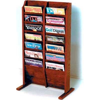 Wooden Mallet Cascade™ Free-Standing 14 Pocket Magazine Rack, Mahogany
