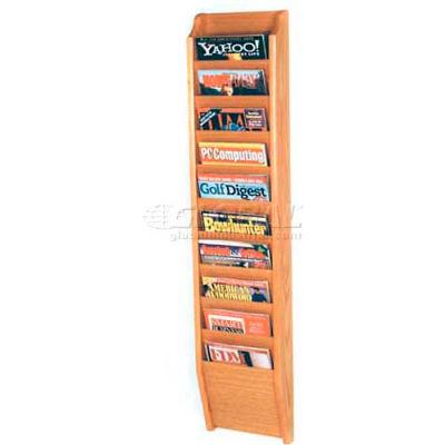 Wooden Mallet Cascade™ 10 Pocket Magazine Rack, Light Oak