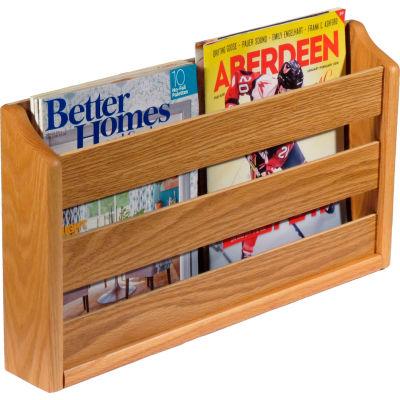 "Wooden Mallet™ Wall Mount or Countertop Magazine Rack 20""W Light Oak"