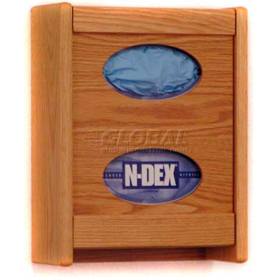 Wooden Mallet 2 Pocket Glove/Tissue Box Holder, Light Oak