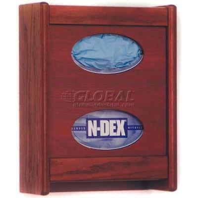 Wooden Mallet 2 Pocket Glove/Tissue Box Holder, Mahogany