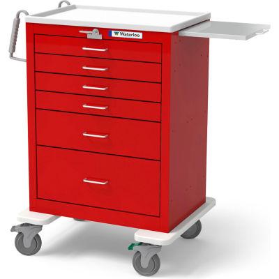 Waterloo Healthcare 6-Drawer Steel Tall Emergency Cart, Lever Lock, Red