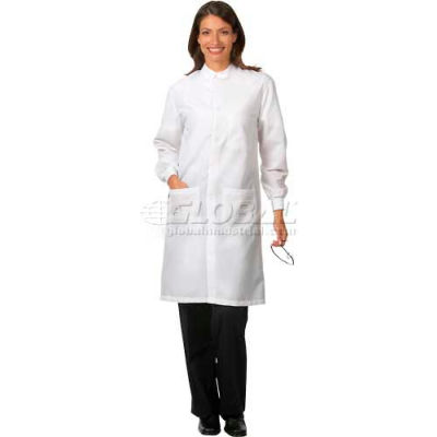 """Fashion Seal Unisex Protective Coats W/Snap, 41""""L, Cotton/Polyester, S, White"""