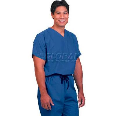 Fashion Seal Unisex Non-Reversible Scrub Shirts, Cotton/Polyester, XL, Blueberry