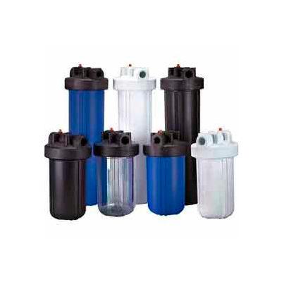 "10"" Full Flow Black/Black Plastic Filter Housing 1"" Port Pressure Release - Pkg Qty 4"