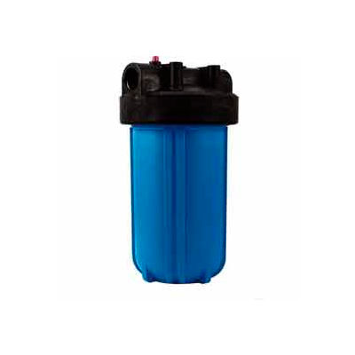 "10"" Full Flow Blue/Black Plastic Filter Housing 1"" Port Pressure Release - Pkg Qty 4"