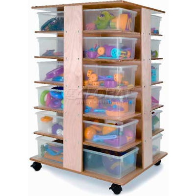 """Preschool Mobile Cubby Tower with 24 Clear Trays, 28-1/2""""W x 24""""D x 41""""H, Natural"""