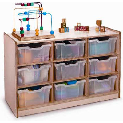"""Preschool Cubby Storage Unit With 9 Clear Trays, 40-1/2""""W x 17-1/2""""D x 24-1/2""""H, Natural"""