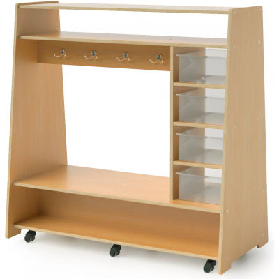 Whitney Brothers Mobile Dress-Up Center with Trays and Mirror - Natural