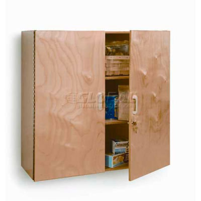 """Lockable Laminated Wall Cabinet, 36""""W x 15""""D x 36""""H, Natural"""