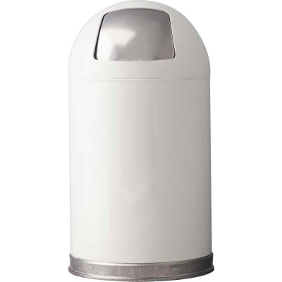 Standard 12 Gallon Steel Receptacle w/Dome Top Lid, White - 12DTWH