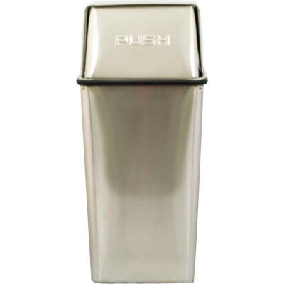 Wastewatcher 13 Gallon Steel Receptacle w/Push Top, Stainless Steel - 13HTSS