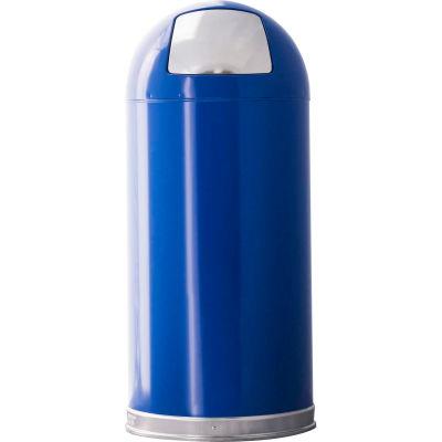 Standard 15 Gallon Steel Receptacle w/Push Door Dome Lid, Blue - 15DTBL