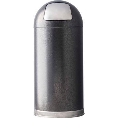 Granite 15 Gallon Steel Receptacle w/Push Door Dome Lid, Silver Vein - 15DTSVN