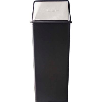 Monarch 21 Gallon Steel Receptacle w/Push Top Lid, Black w/Chrome Accents - 21HT-22