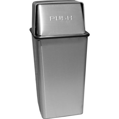 Wastewatcher 21 Gallon Steel Receptacle w/Push Top Lid, Stainless Steel - 21HTSS