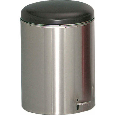 Step-On Round 4 Gallon Steel Receptacle, Stainless Steel - 2240SS