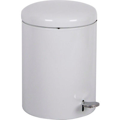 Step-On Round 4 Gallon Steel Receptacle, White - 2240WH