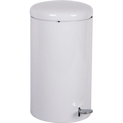 Step-On Round 7 Gallon Steel Receptacle, White - 2270WH