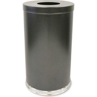 35 Gallon Steel Receptacle w/Single Opening Flat Top, Silver Vein - 35FTSVN