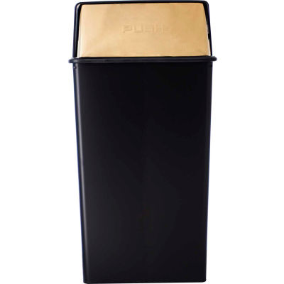 Monarch 36 Gallon Steel Receptacle w/Push Top, Black w/Brass Accents - 36HT-11