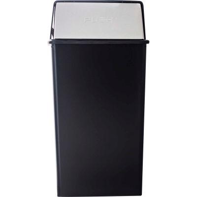 Monarch 36 Gallon Steel Receptacle w/Push Top, Black w/Chrome Accents - 36HT-22