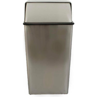 Monarch 36 Gallon Steel Receptacle w/Push Top, Stainless Steel - 36HTSS