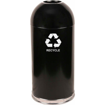 Indoor 15 Gallon Steel Recycling Container w/Open Dome Top, Black - 415DTBK-R
