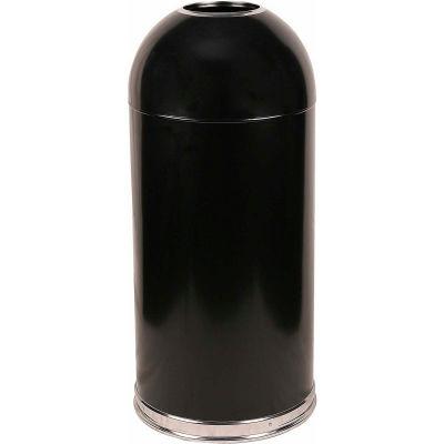 Standard 15 Gallon Steel Receptacle w/Open Dome Top, Black - 415DTBK