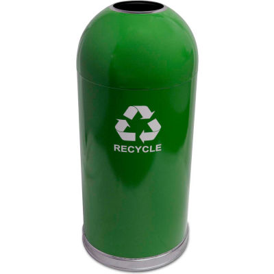 Indoor 15 Gallon Steel Recycling Container w/Open Dome Top, Green - 415DTGN-R